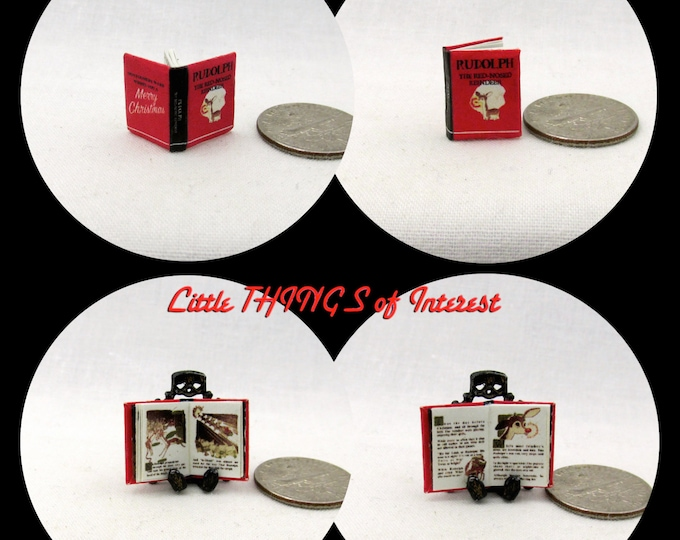 1:24 Scale Book RUDOLPH The RED-NOSED Reindeer Miniature Dollhouse Illustrated Book Santa