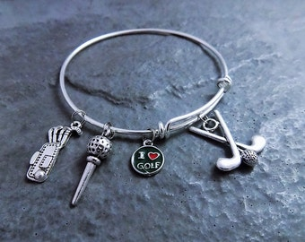 Golf Charm Bracelet -Golf Gifts - Expandable Bangle - Golf Charms - Golfer Jewelry - Golfer - Accessories - Golf Ball Charm - Golfing