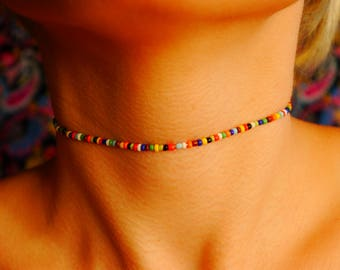 Stretchy - Rainbow - Multi Color- Seed Bead - Choker
