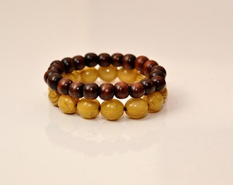 Natural African Bead Bracelet - Set of 2
