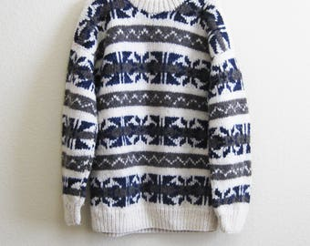 Brown Blue White Wool Sweater Ecuador Large Handmade XL