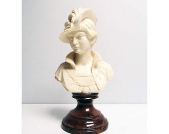 Vintage Sculptural Bust of a hatted lady, resin bust on a brown marble base, shabby chic Romantic Home Decor Height 11 in / 28cm