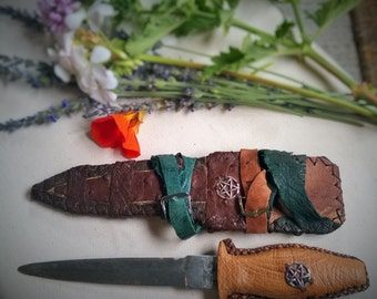 Vintage Athame  Sacred Knife  Ritual Knife  with Ostrich Leather Handle and Sheath Wicca Pagan Ritual Altar Witch