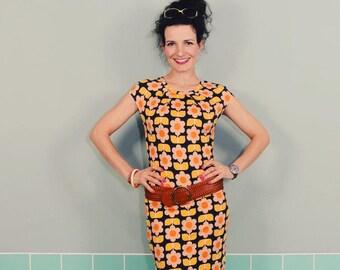 "New York dress ""LOTTE"" a dark blue mustard pink"