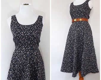 Vintage 1970s Dress Blue Floral Cotton Sundress Country Summer Dress Boho Hippie Prairie Folk Festival Bavarian Dress Size Small