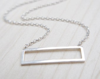 Minimalist geometric horizontal frame necklace- geometric jewellery, minimalist jewelry, silver necklace, bar necklace, gift for her