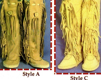 Native American Shawnee Indian Moccasin Sewing Pattern - 3 Styles, Ankle or Knee High