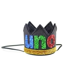 UNO Birthday Crown || Uno Birthday Party || First Birthday Crown || Black Felt Crown || Cinco De Mayo