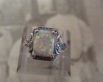 Charming Sterling Silver  & Opal  Ring Size 5.5