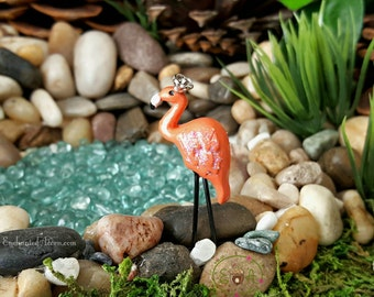 Miniature Flamingo Pink Fairy Bird - Mini Bird for Terrariums Miniature Gardens Fairy Garden Accessories Fairy Garden Flamingos
