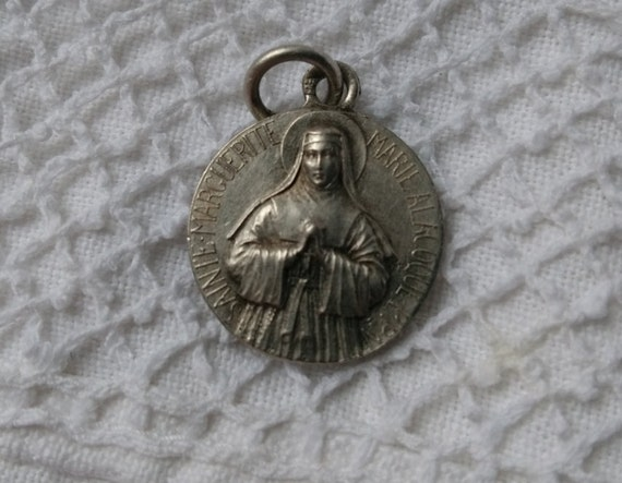 St Magaret Alacoque Souvenir French Silver Medal Marked #sophieladydeparis