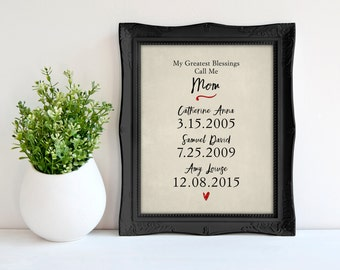 My greatest blessings call me mom,  Personalized Mother's Day Gift,  Print Children's names and birthdates print wall print 8x10