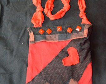 Red/Black Denim Shoulder Pouch
