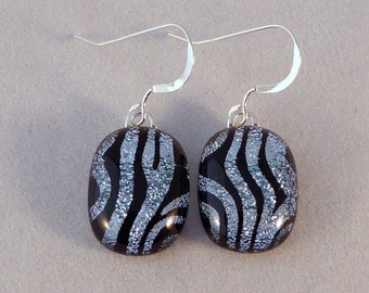 Zebra Dichoic Fused Glass Earrings, Silver and Black, Fused Glass, Glass Earrings, Dangle, Fused Glass Earrings, Dichroic, Silver, Black