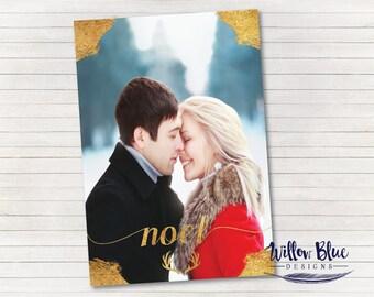 Antler Noel Holiday Card, Holiday Photo Card, 5x7 Printable #820