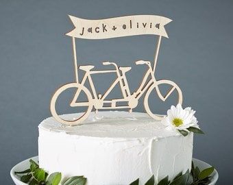 Custom Wedding Cake Topper - Tandem Bike Wedding Cake Topper - Bicycle Cake Topper - Birch Lasercut Cake Topper