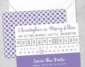 Modern Calendar - Card - Save the Date - Includes Back Side Printing + Envelope