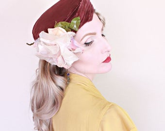 Vintage 1950s Hat / Designer / John Eaton Couturier / Rose Hat / Pillbox