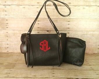 Monogram Purse- Black Monogrammed Purse - Personalized Bag - Personalized Purse - Medium Shoulder Bag - Gift For Her - Ships in 2 Weeks