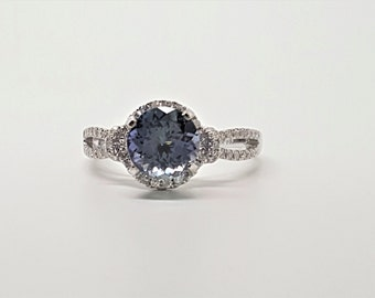 2.43ctw Tanzanite & Diamond 14kt White Gold Ring Size 7.75