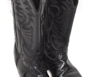 Vintage 80s Laredo Cowboy Western Black Boots Sz 9.5D