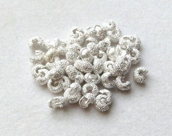 4mm Stardust Silver Plated Crimp Covers - 50 pieces