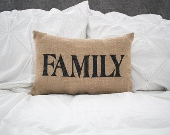 FAMILY pillow, home pillow, home decor, burlap pillow, fabric pillow, 14x9 accent pillow, farmhouse pillow