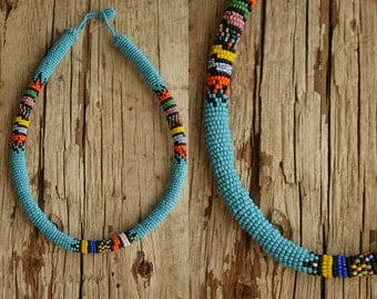 Native American Necklace - Beaded rope necklace - bohemian necklace - sky blue necklace - seed bead jewelry - tribal necklaces festival blue