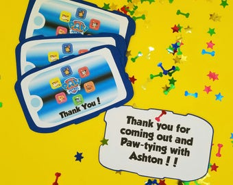 Paw Patrol Thank You Cards, Paw Patrol Birthday, Paw Patrol party, Paw Patrol Pup Pad Invitation, Pup Pad, Pull Out Invitation Party