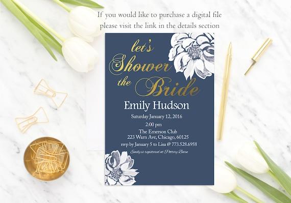 Navy Bridal Shower Invitation, Floral Bridal Shower Invite, Navy and Gold Bridal Shower Invitation, Printed Bridal Shower Invitation, Flower