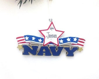FREE SHIPPING Navy Personalized Christmas Ornament / Armed Forces Ornament / US Military Ornament / Hand Personalized Name or Message