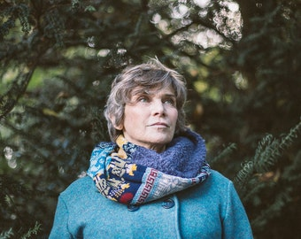 Fair isle Snood with Dusty Blue Bouclé by Crooked Knitwear
