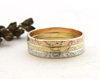 Tricolor Wedding Band, Gold Wedding Band, Wide Wedding Band, Three Tone Ring, 14k Gold Ring, Floral Ring, Solid Gold Ring, Tricolor Ring