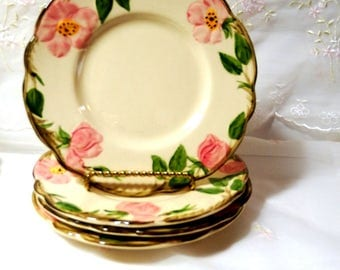 Vintage 1950s, Bread and Butter Plate by Franciscan in Desert Rose with USA Backstamp with Brown TV Shape