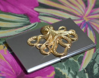 silver tone business card case with octopus