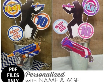 Nerf Wars Printable Centerpiece   Nerf Wars Birthday   Decoration   DIY Printable   Cake Topper   Dart Wars Party   Epic Parties by REVO