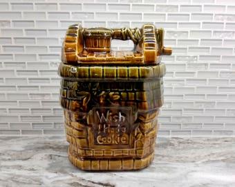 McCoy Wishing Well Cookie Jar,  wish I had a cookie, cookie jar, McCoy pottery, glazed cookie jar, McCoy collectible