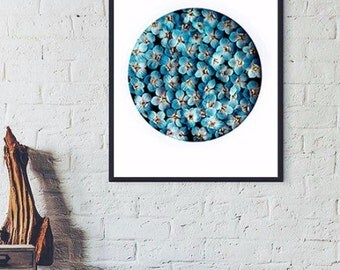 Floral Picture Fine art photography Mint Blue Flowers Tiny Flowers Round Geometrical photo Vertical Photography Modern Living Art room decor