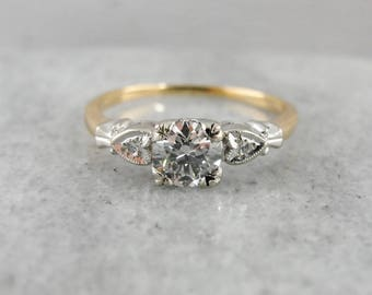 Retro Era Diamond Engagement Ring, Vintage Diamond Ring, 1950's, Yellow and White Gold 65MXVP-P