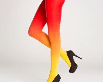 Ombre tights yellow - red / party pantyhose