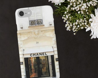 Chanel Phone Case, Chanel Paris Store, Watercolor Phone Case, iPhone X 6 7 8 Plus, Samsung Galaxy Case, Luxury Fashion Designer Phone Wallet