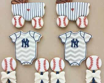 BABY Shower YANKEES Baseball themed Sugar Cookies