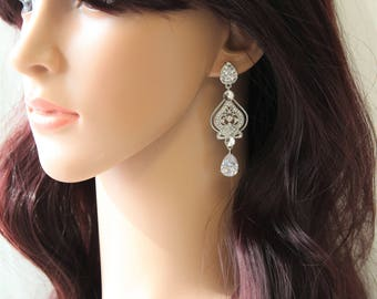 Art Deco Earrings 1920s  Great Gatsby Bridal Earrings Crystal  Wedding Earrings  Bridal Jewelry Crystal Teardrop Earrings Wedding Jewellery
