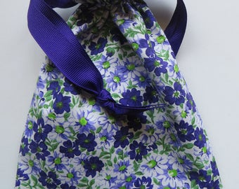 Purple Lavender and White Lined Drawstring Gift Bag Floral