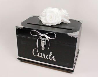 White & Gold Wooden Wedding Card Box Trunk Vintage Glamorous