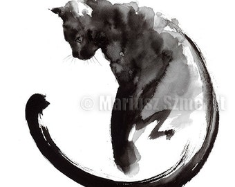 Black Cat, Cat Painting, Sumi-e, Abstract Cat, Lucky Symbol, Minimalist Art, Watercolor Artwork, Japanese Style