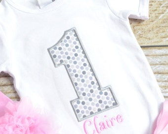 Pink and Silver First (1st) Birthday Outfit - First birthday outfit! pink and silver cake smash outfit, baby girl birthday shirt