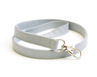Solid Gray Skinny Lanyard - Thin Lanyard with Swivel Clasp - 1/2 Inch Key Lanyard - Cute Long Key Strap - Teacher Lanyard - 15.5-19.5 Inches