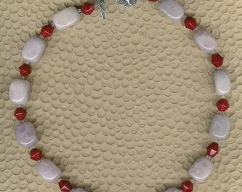Pink Cloud - Rose Quartz, Jade, Rock Quartz, Sterling Silver Necklace Feminine Statement