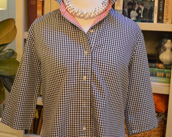 Vintage navy checkered button down with three quarter sleeves retro M / L medium large